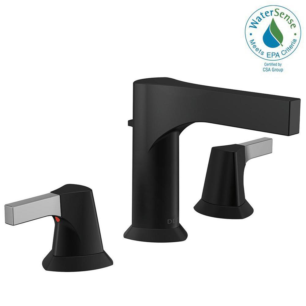 Delta Zura 8 in. Widespread 2-Handle Bathroom Faucet with Metal ...