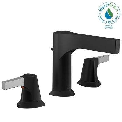 Zura 8 in. Widespread 2-Handle Bathroom Faucet with Metal Drain Assembly in Chrome/Matte Black