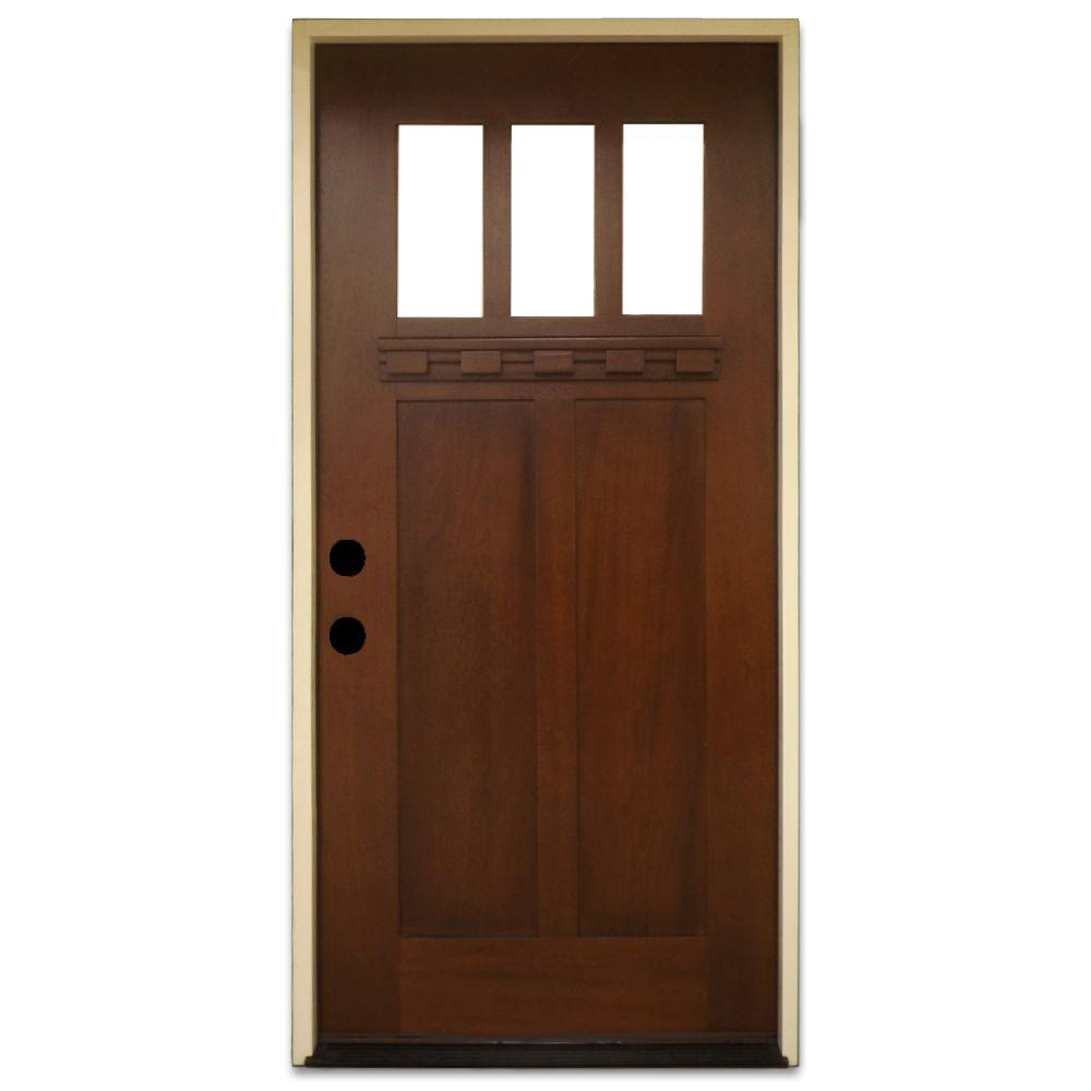 Steves & Sons 36 in. x 80 in. Shaker 3 Lite Stained Mahogany Wood ...