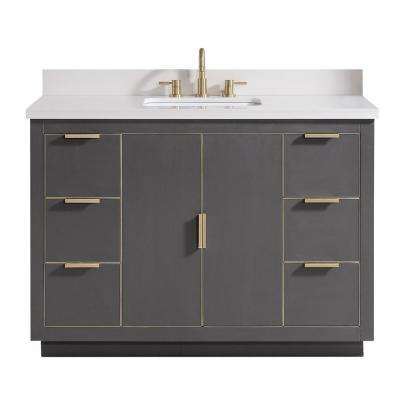 Austen 49 in. W x 22 in. D Bath Vanity in Gray with Gold Trim with Quartz Vanity Top in White with Basin
