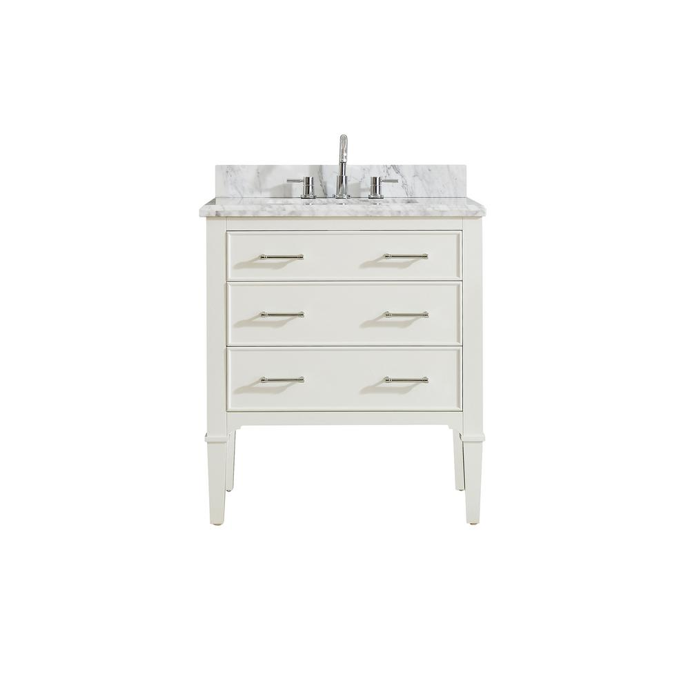 Azzuri Azzuri Arlington 31 in. W x 22 in. D x 35 in. H Vanity in White with Marble Vanity Top in Carrera White with White Basin