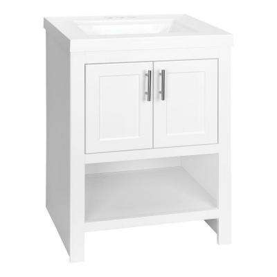 Spa 24-1/2 in. W Bath Vanity in White with Cultured Marble Vanity Top in White with White Sink