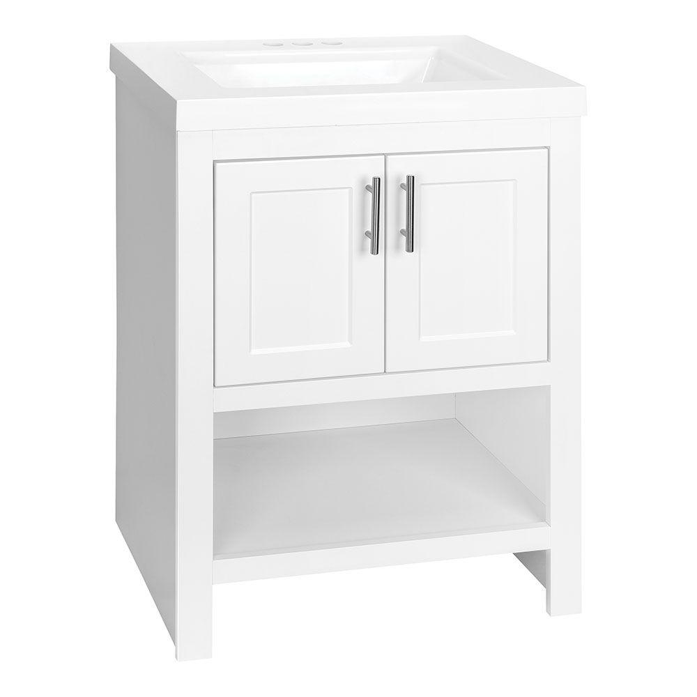 e510f6f74d0 W Bath Vanity in White with Cultured Marble Vanity Top in White with White  Sink