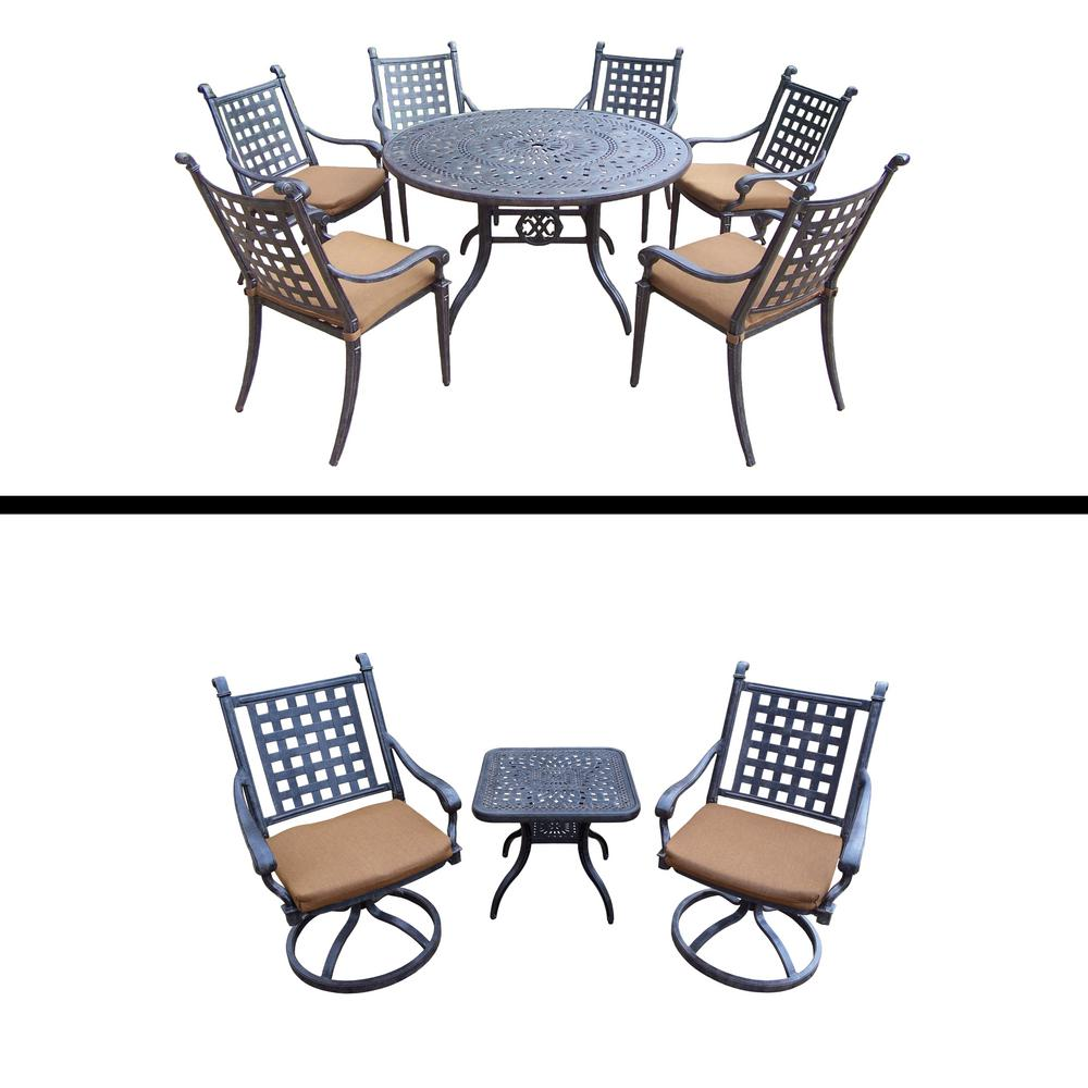Belmont Premier 10-Piece Aluminum Outdoor Dining Set with Sunbrella Brown Cushions