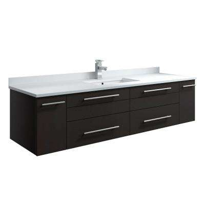 Lucera 60 in. W Wall Hung Bath Vanity in Espresso with Quartz Stone Vanity Top in White with White Basin