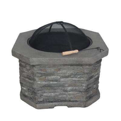 Santiago 32 in. x 20 in. Octagon Concrete Wood Burning Fire Pit in Grey