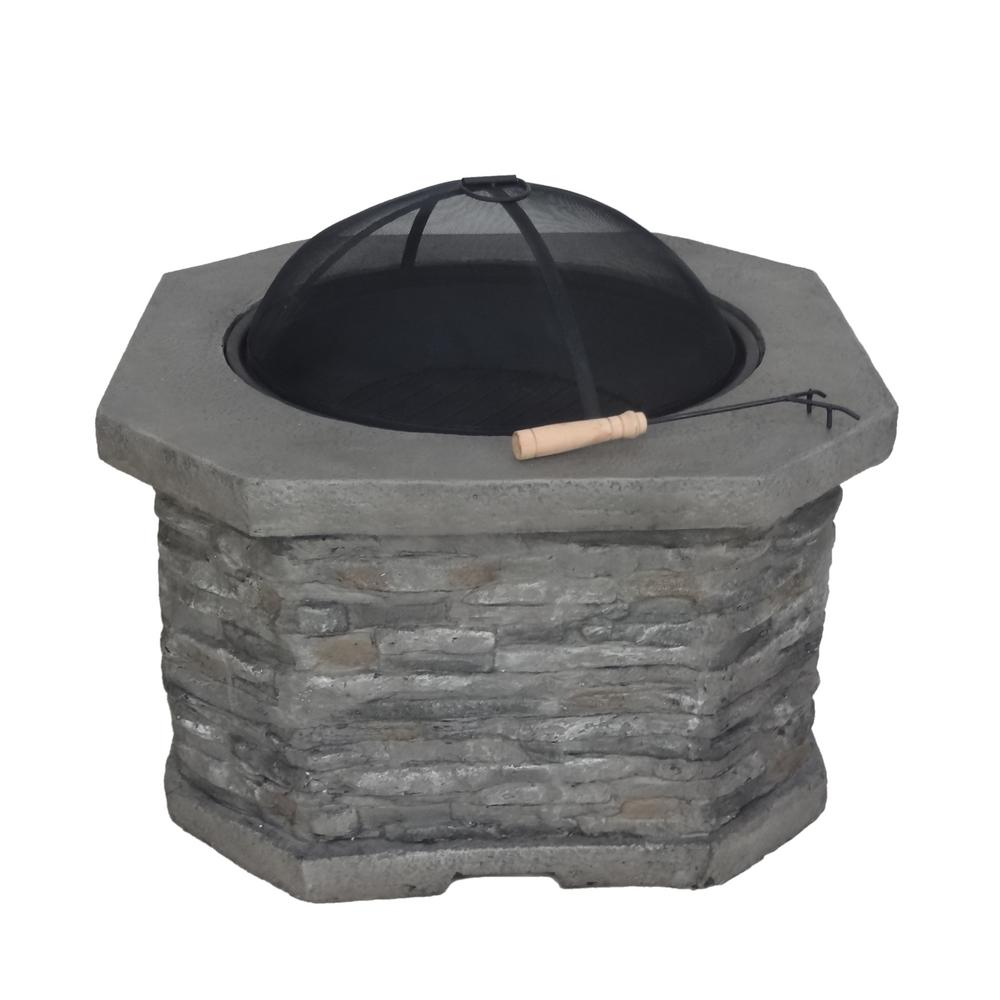 Noble House Santiago 32 in. x 20 in. Octagon Concrete Wood Burning Fire Pit in Grey