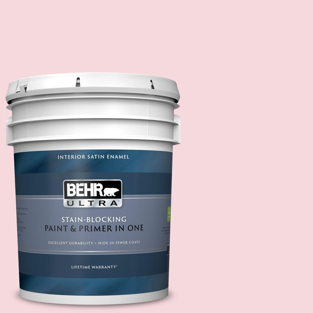 Behr Ultra 5 Gal 140a 2 Coy Pink Satin Enamel Interior Paint And Primer In One 775005 The Home Depot