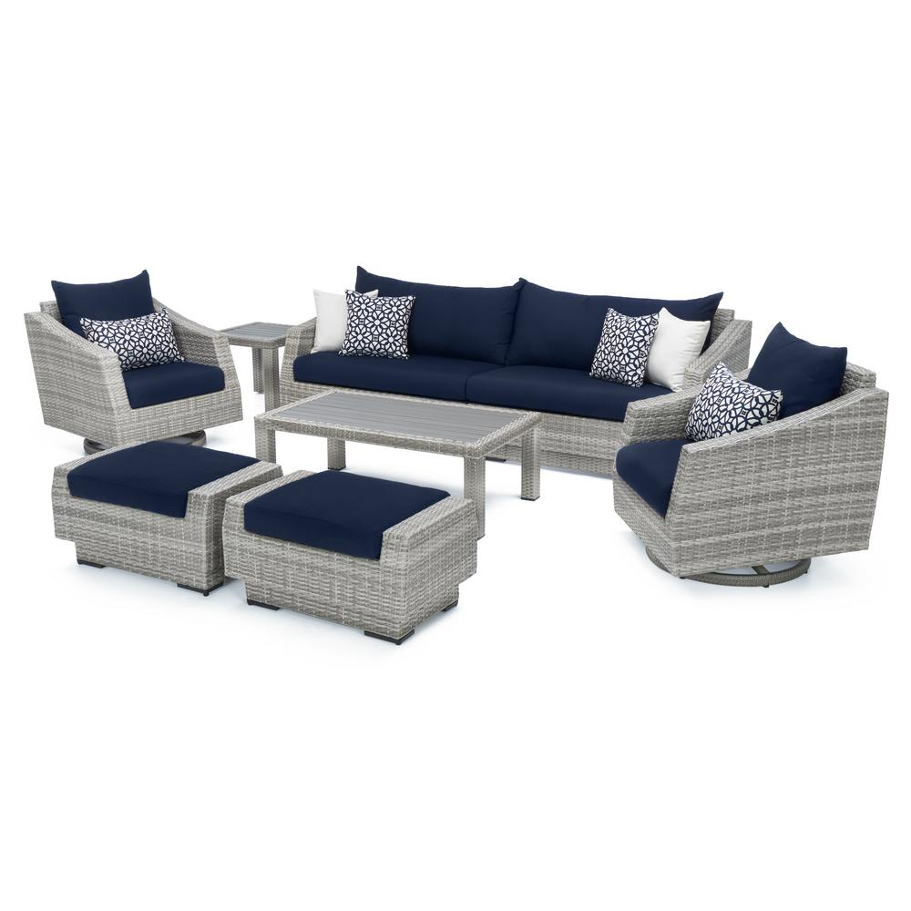RST Brands Cannes 8-Piece Motion Wicker Patio Deep Seating Conversation Set with Sunbrella Navy Blue Cushions