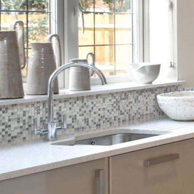 Minimo Noche Approximately 3 in. W x 3 in. H White and Gray Decorative Mosaic Wall Tile Backsplash Sample