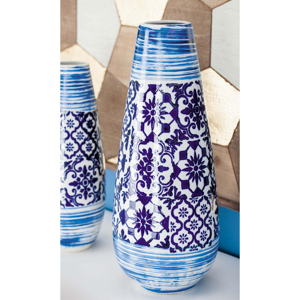 Oriental Blue And White Urn Type Decorative Vase
