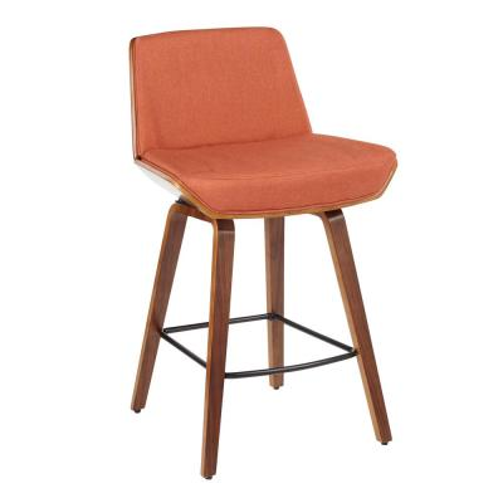 Corazza Mid-Century Modern Walnut Wood and Orange Fabric Counter Stool