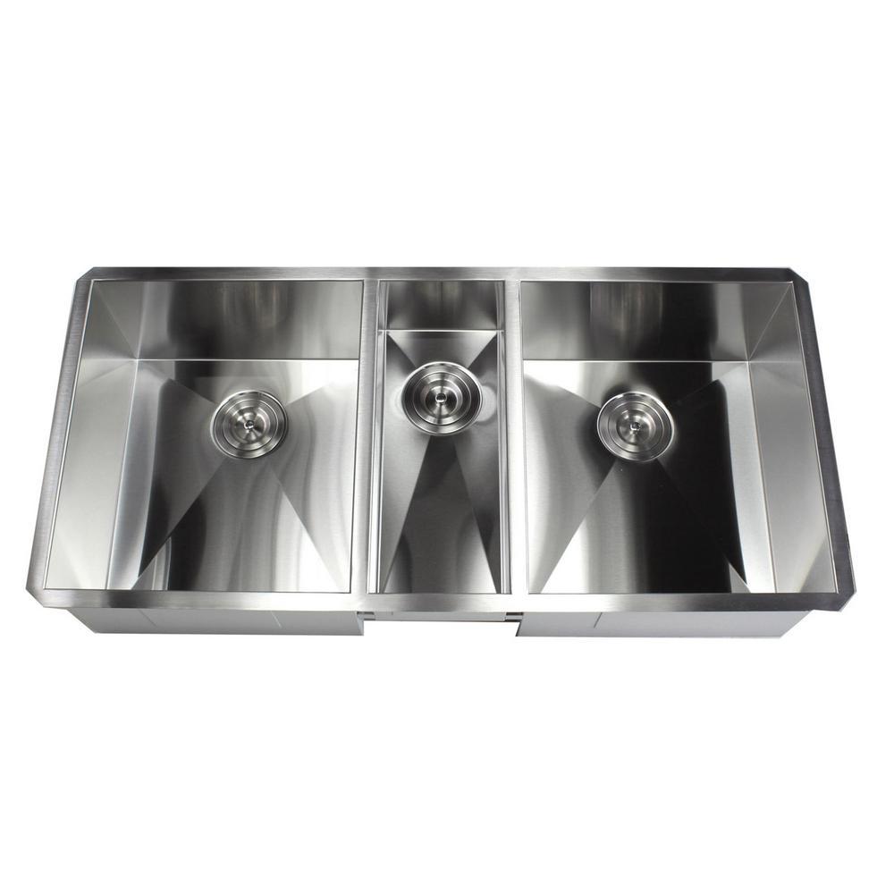 Kingsman Hardware Undermount Stainless Steel 42 in. x 20 in. x 10 in. Deep  16-Gauge Triple Bowl 40/20/40 Zero Radius Kitchen Sink