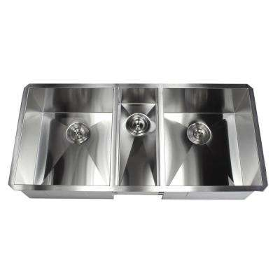 Undermount Stainless Steel 42 in. x 20 in. x 10 in. Deep 16-Gauge Triple Bowl 40/20/40 Zero Radius Kitchen Sink