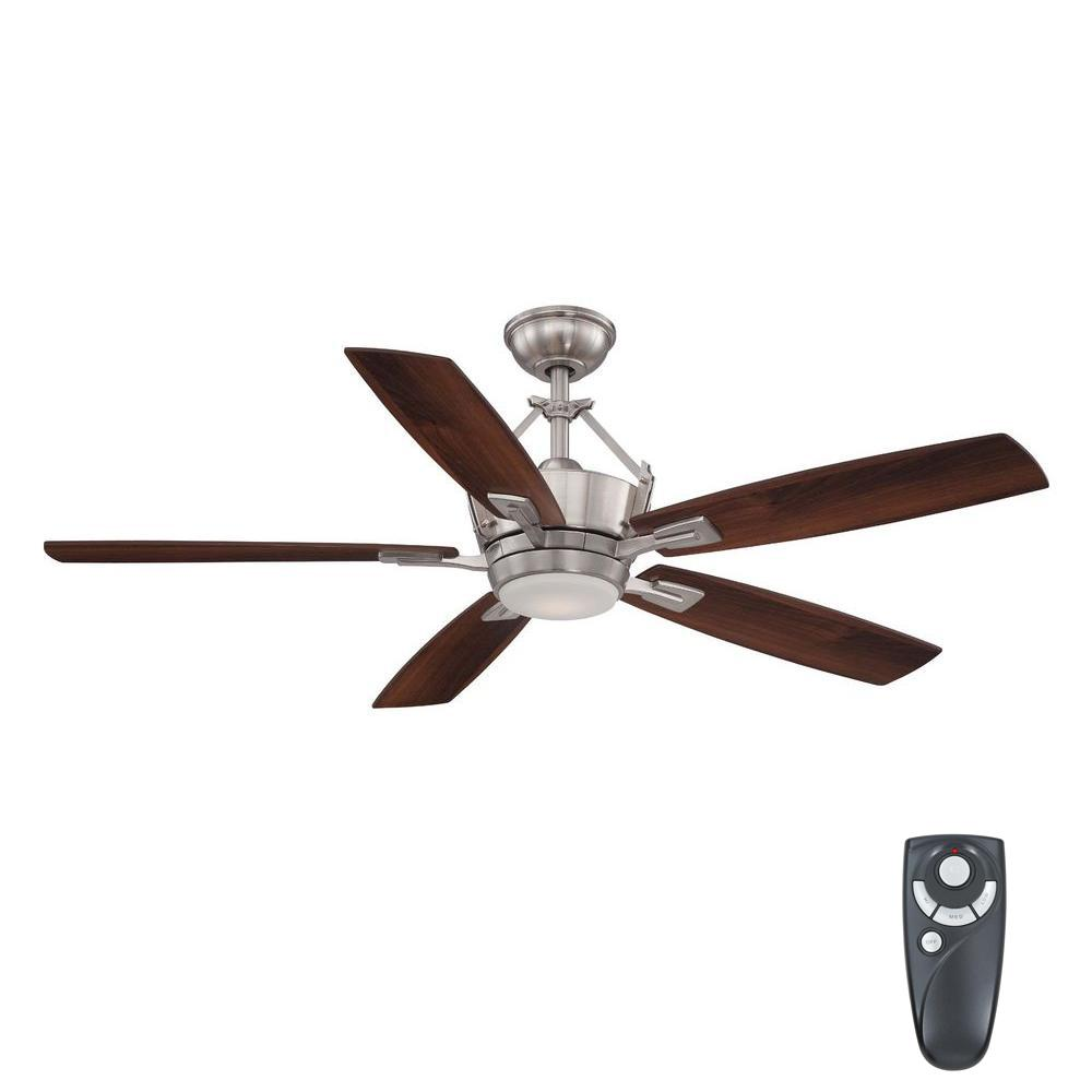 Home Decorators Collection Bordere 56 In Led Indoor Brushed Nickel Ceiling Fan With Light Kit