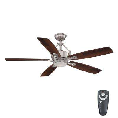 Bordere 56 in. LED Indoor Brushed Nickel Ceiling Fan with Light Kit and Remote Control