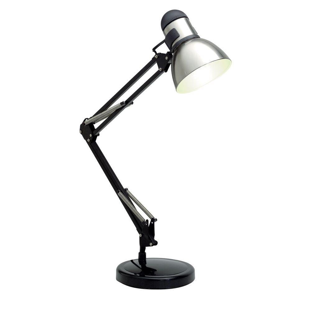 Filament design karl 34 in black and steel desk lamp hd for Design table lamp giffy 17 7