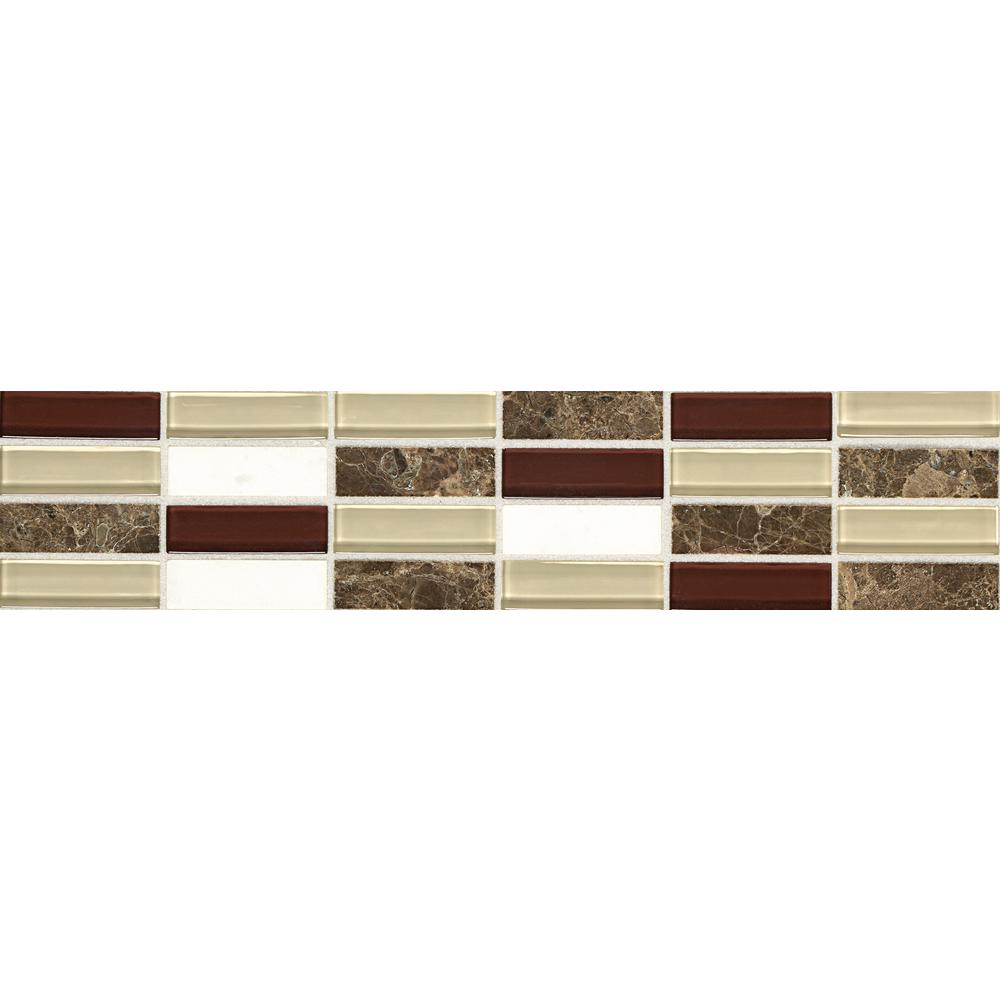 Daltile Stone Decorative Accents Cohiba Illusion 2-5/8 in. x 12 in. Marble and Glass Accent Tile