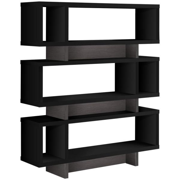 55 in. Black with 6-Shelves Composite Bookcase