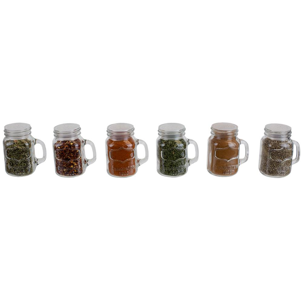 Glass Spice Jar Set With Rotating Lid 6 Piece Shaker Salt Pepper Spice Shakers
