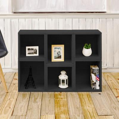 40.2 in. Black Wood 6-shelf Standard Bookcase with Cubes