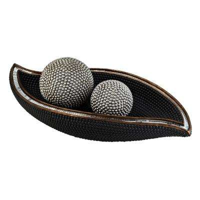 Black Pearl Stone Polyresin Decorative Bowl With Spheres