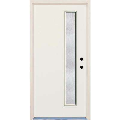 36 in. x 80 in. 1 Lite Rain Glass Unfinished Fiberglass Raw Prehung Front Door with Brickmould