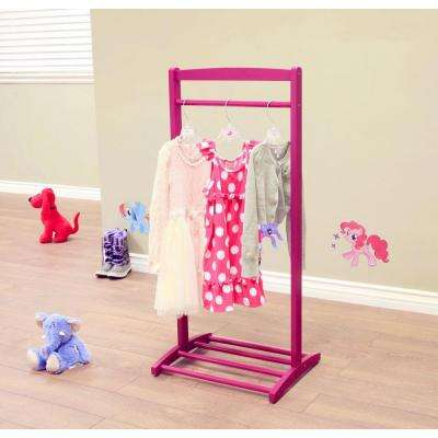 1-Hook Kid's Contemporary Wooden Cloths Hanger in Purple