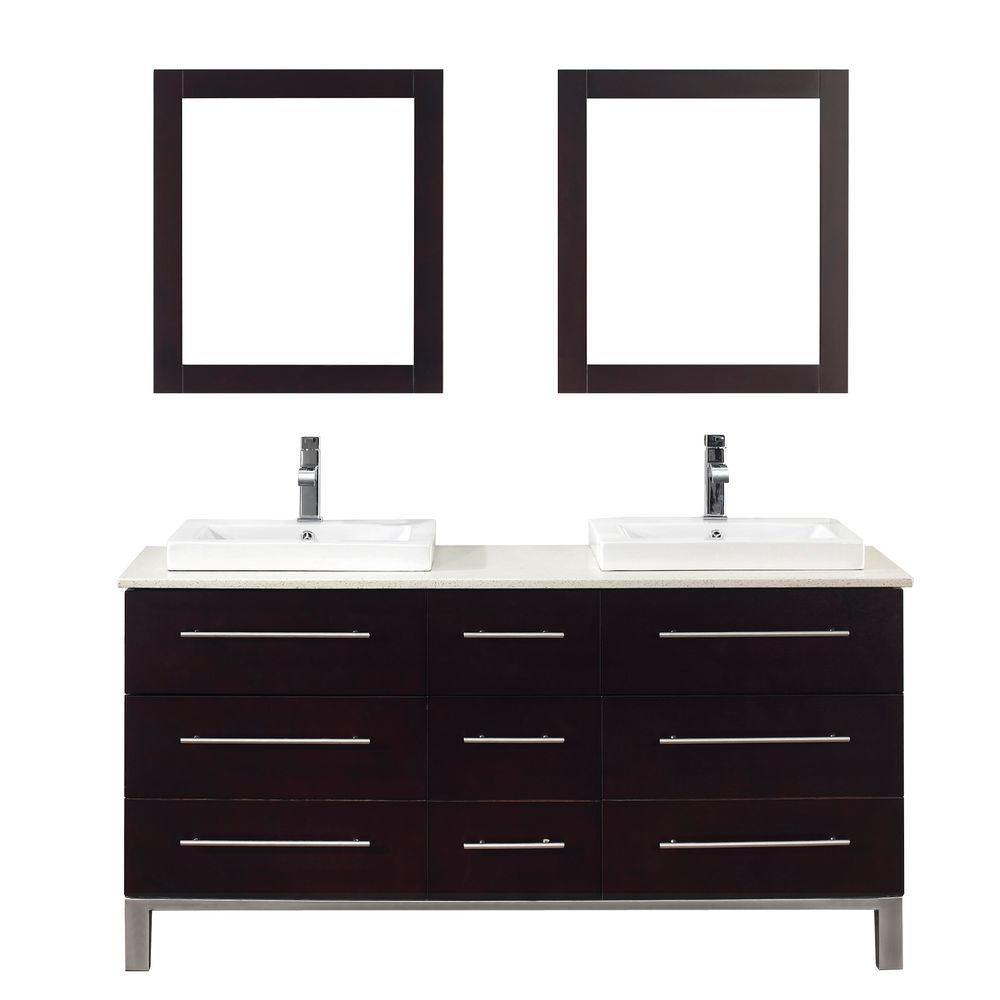 Studio Bathe Ginza 63 in. Vanity in Chai with Nougat Quartz Vanity Top in Chai and Mirror