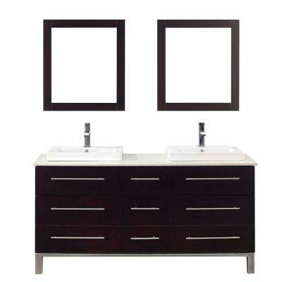 Ginza 63 in. Vanity in Chai with Nougat Quartz Vanity Top in Chai and Mirror