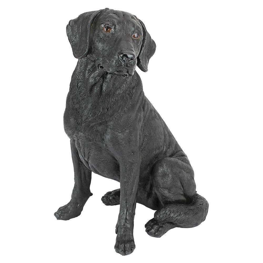 15.5 in. H Black Labrador Retriever Dog Garden Statue