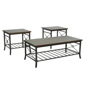 47.6 in. L 3-Piece Brown Rectangular Top Birch Coffee Table Set 1-Coffee and 2-End Table Set with Powder Coat Metal Legs