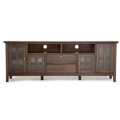 Artisan 72 in. Natural Aged Brown Wood TV Stand with 2 Drawer Fits TVs Up to 80 in. with Storage Doors