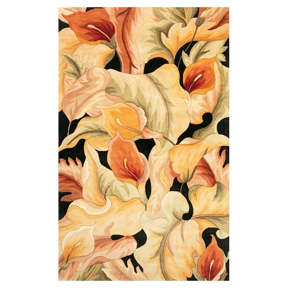 KAS Calla Lilies Black 2 ft. 6 in. x 4 ft. 2 in. Area Rug