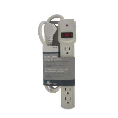 6-Outlet Surge Protector with 3 ft. Cord and 45 Degree Flat Angle Plug, White