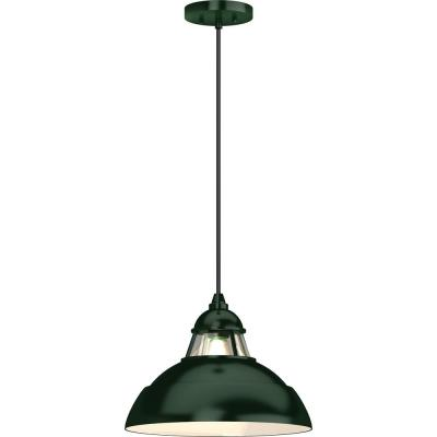 1-Light Indoor Green Hanging Pendant with Lighthouse-Inspired Bowl and Clear Glass