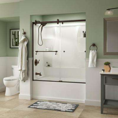 Portman 60 in. x 58-3/4 in. Semi-Frameless Contemporary Sliding Bathtub Door in Bronze with Clear Glass