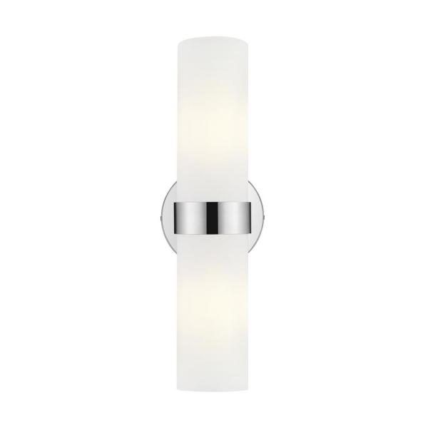 Romilly 5 in. 2-Light Chrome Vanity Light with Frosted Glass Shade