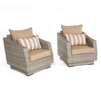 Cannes 2-Piece All-Weather Wicker Patio Club Chair Seating Set with Maxim Beige Cushions