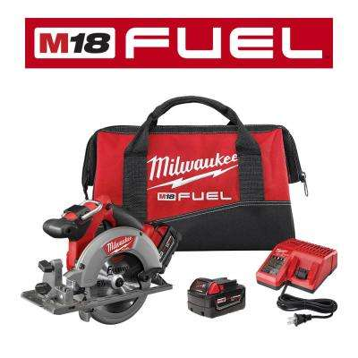 M18 FUEL 18-Volt Lithium-Ion Brushless Cordless 6-1/2 in. Circular Saw Kit w/ (2) 5.0Ah Batteries, Charger, Tool Bag