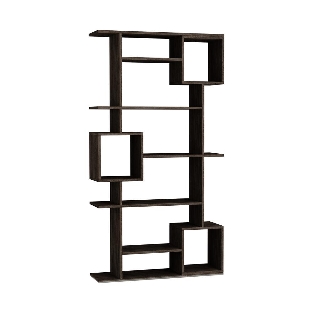 Barrett Dark Brown Mid-Century Modern Bookcase