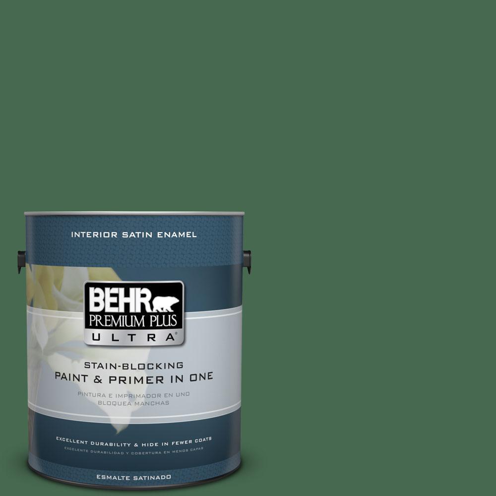 BEHR Premium Plus Ultra 1-gal. #M410-7 Perennial Green Satin Enamel Interior Paint