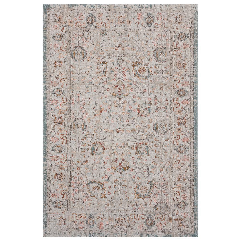 Antiquity Beige / Brown 2 ft. x 4 ft. Distressed Persian Bordered Indoor/Outdoor Area Rug