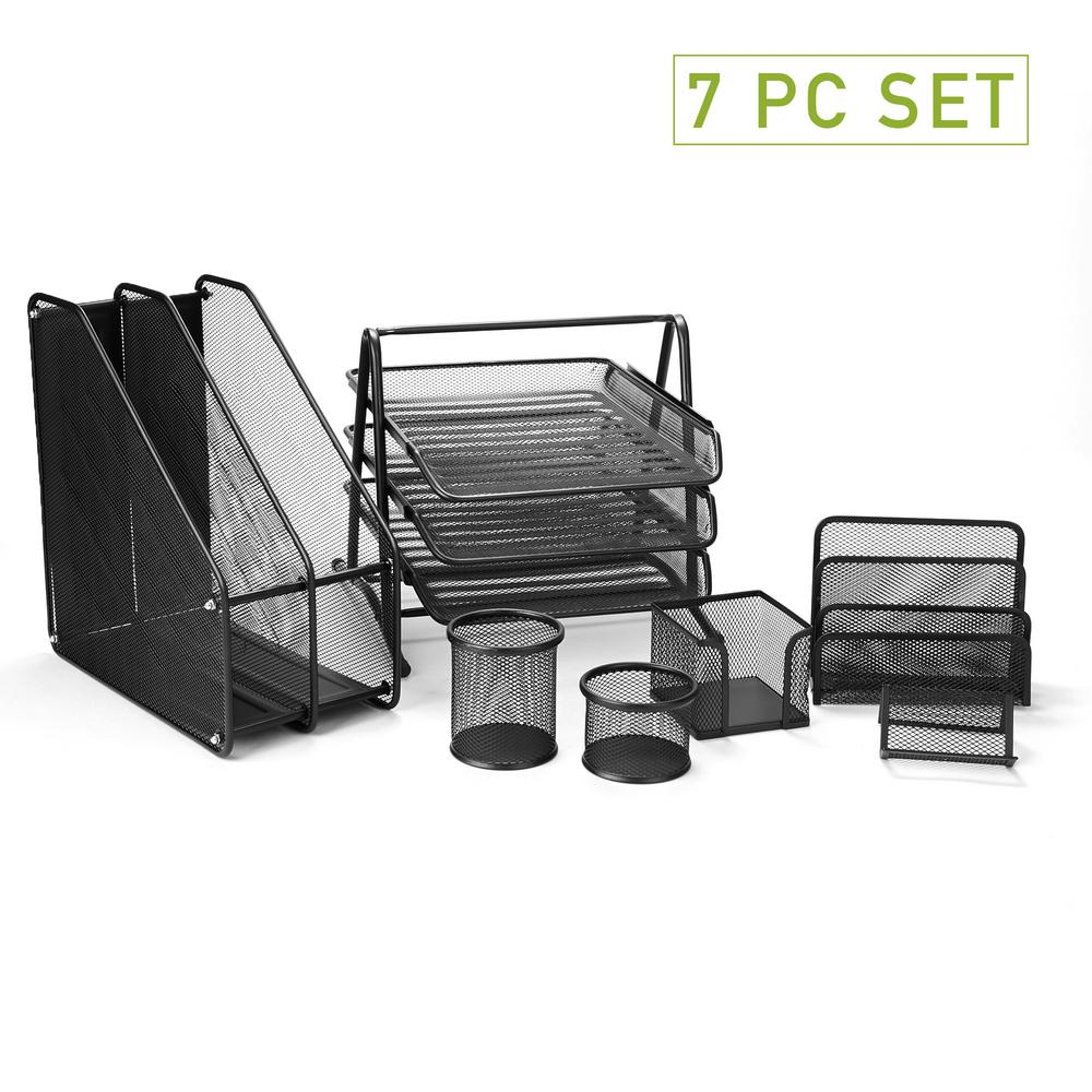 Cool Mind Reader Metal Mesh 7 Piece Office Desk Organizer Set In Black Home Interior And Landscaping Ferensignezvosmurscom