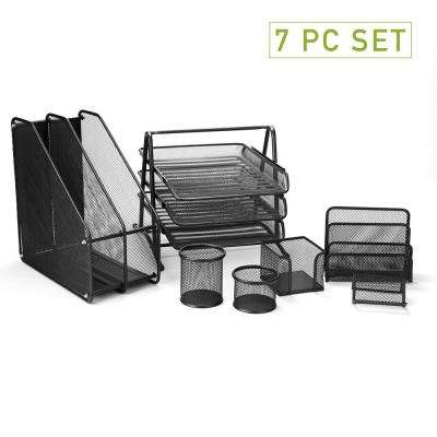 Metal Mesh 7-Piece Office Desk Organizer Set in Black