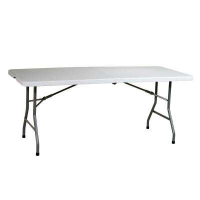 72 in. Light Gray Plastic Fold-in-Half Folding Banquet Table