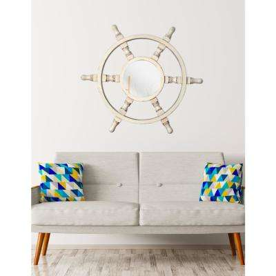 Helmsman Round White Decorative Wall Mirror