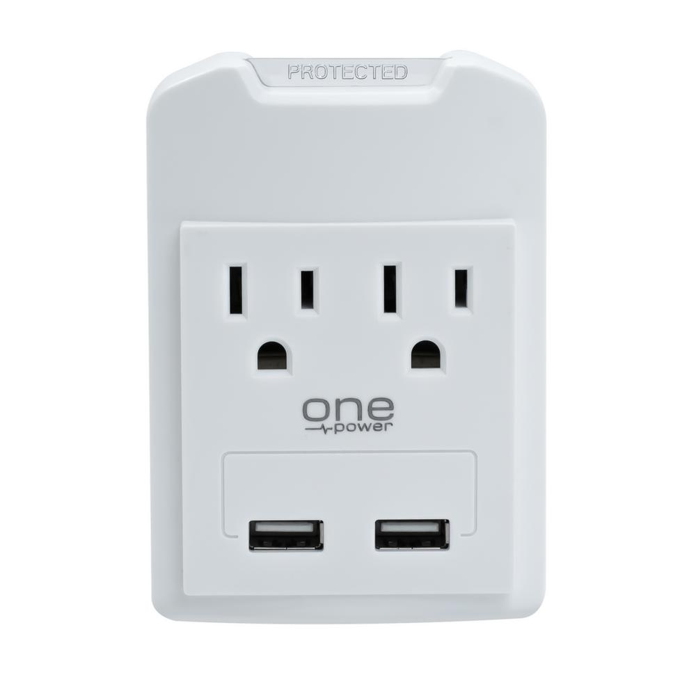 2 Pack 6 AC Outlet Wall Tap 2 USB Ports 2.1A Charger Surge Protector Socket