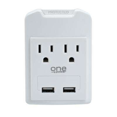 2 Outlet/2 USB Surge Protection Wall Tap by One Power