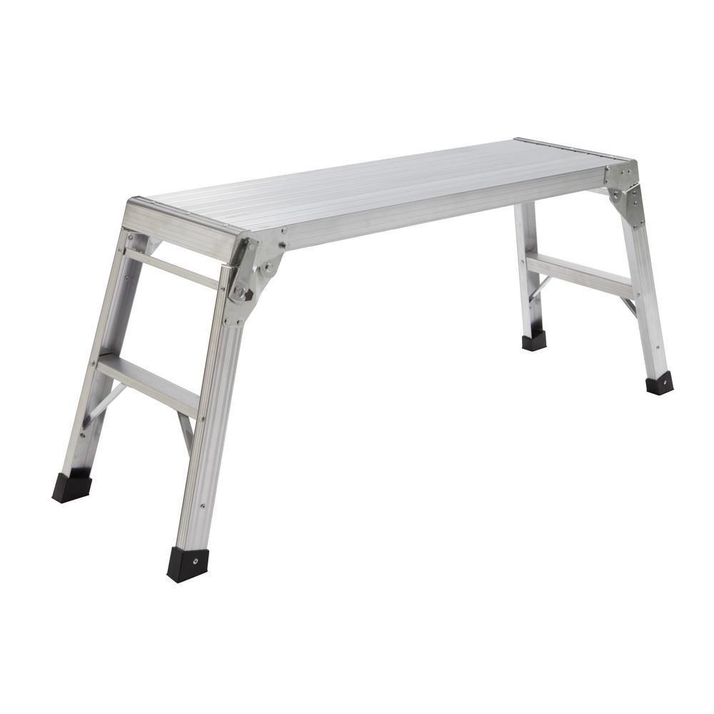 39 in. x 20 in. x 12 in. Aluminum Work Platform, 225 lbs. Load Capacity
